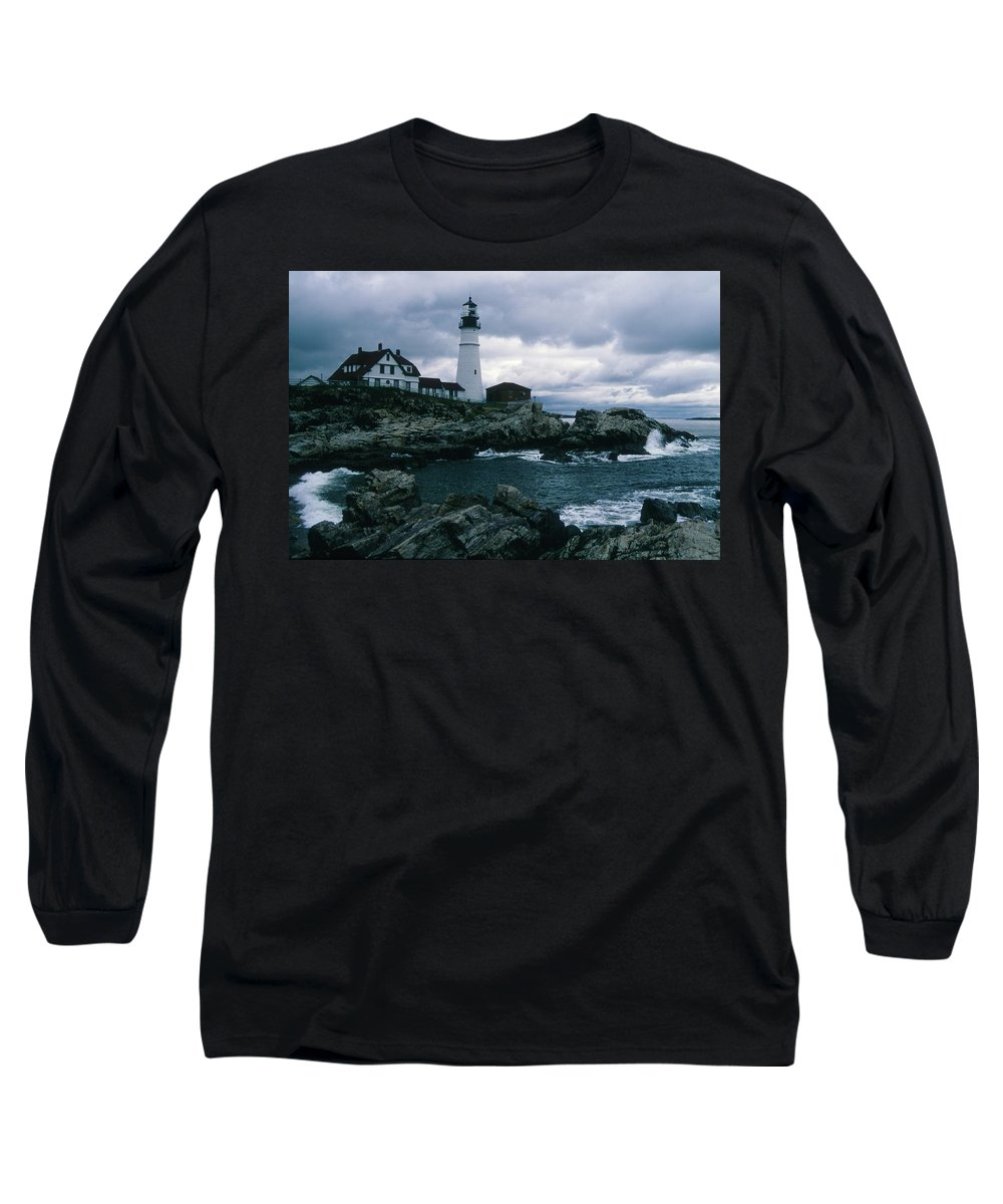 Landscape New England Lighthouse Nautical Storm Coast Long Sleeve T-Shirt featuring the photograph Cnrg0601 by Henry Butz