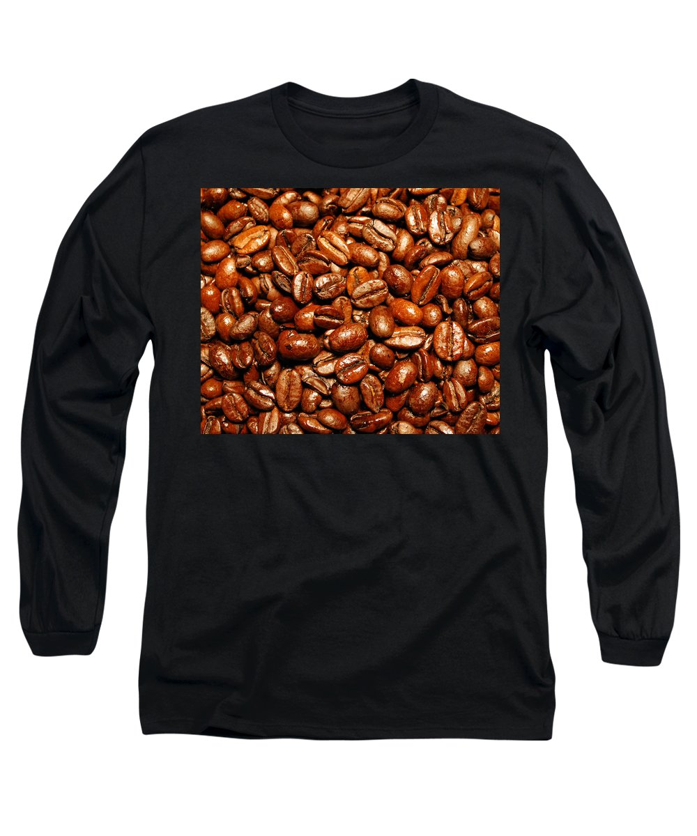 Coffee Long Sleeve T-Shirt featuring the photograph Coffee Beans by Nancy Mueller