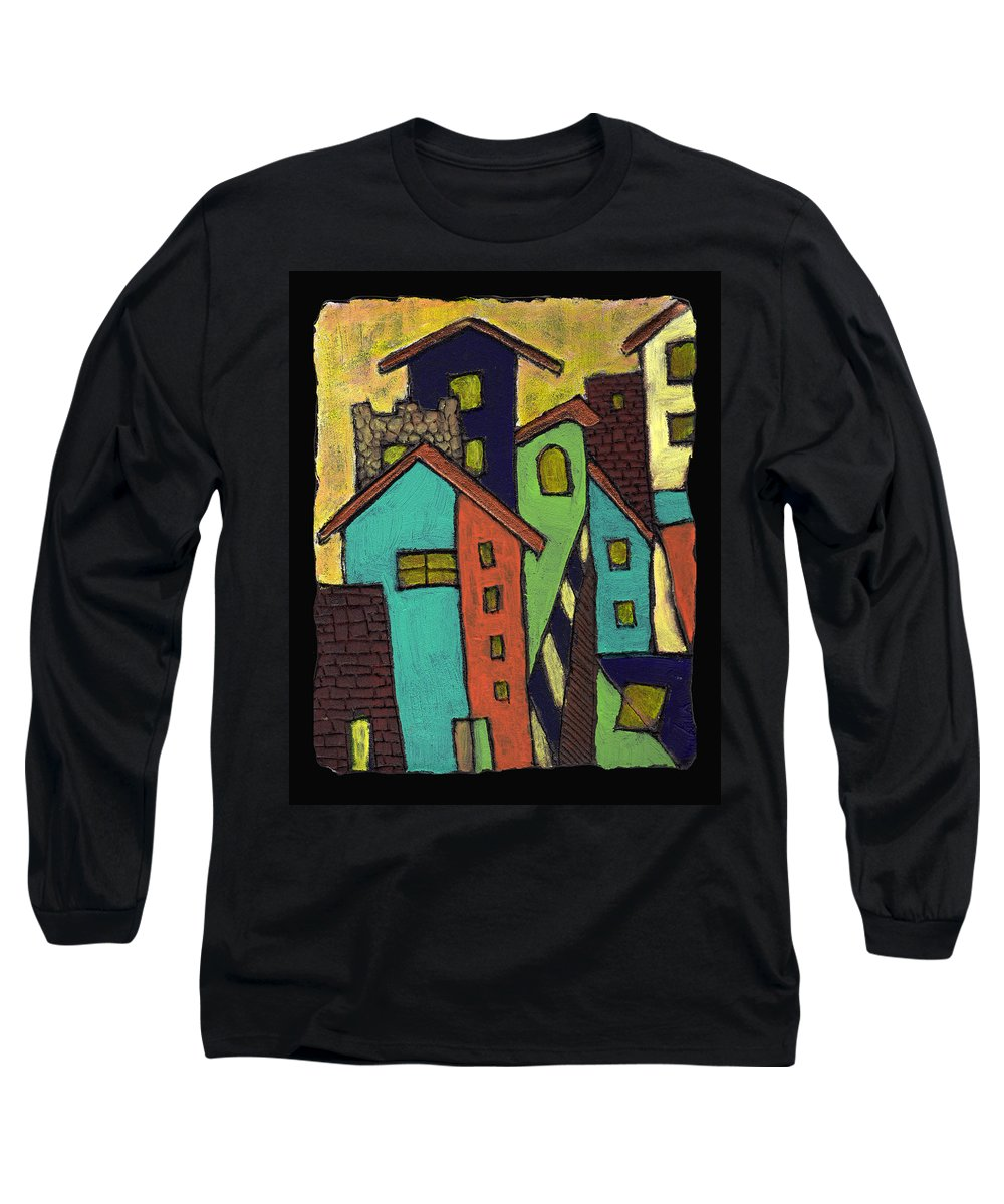City Long Sleeve T-Shirt featuring the painting Colorful Neighborhood by Wayne Potrafka