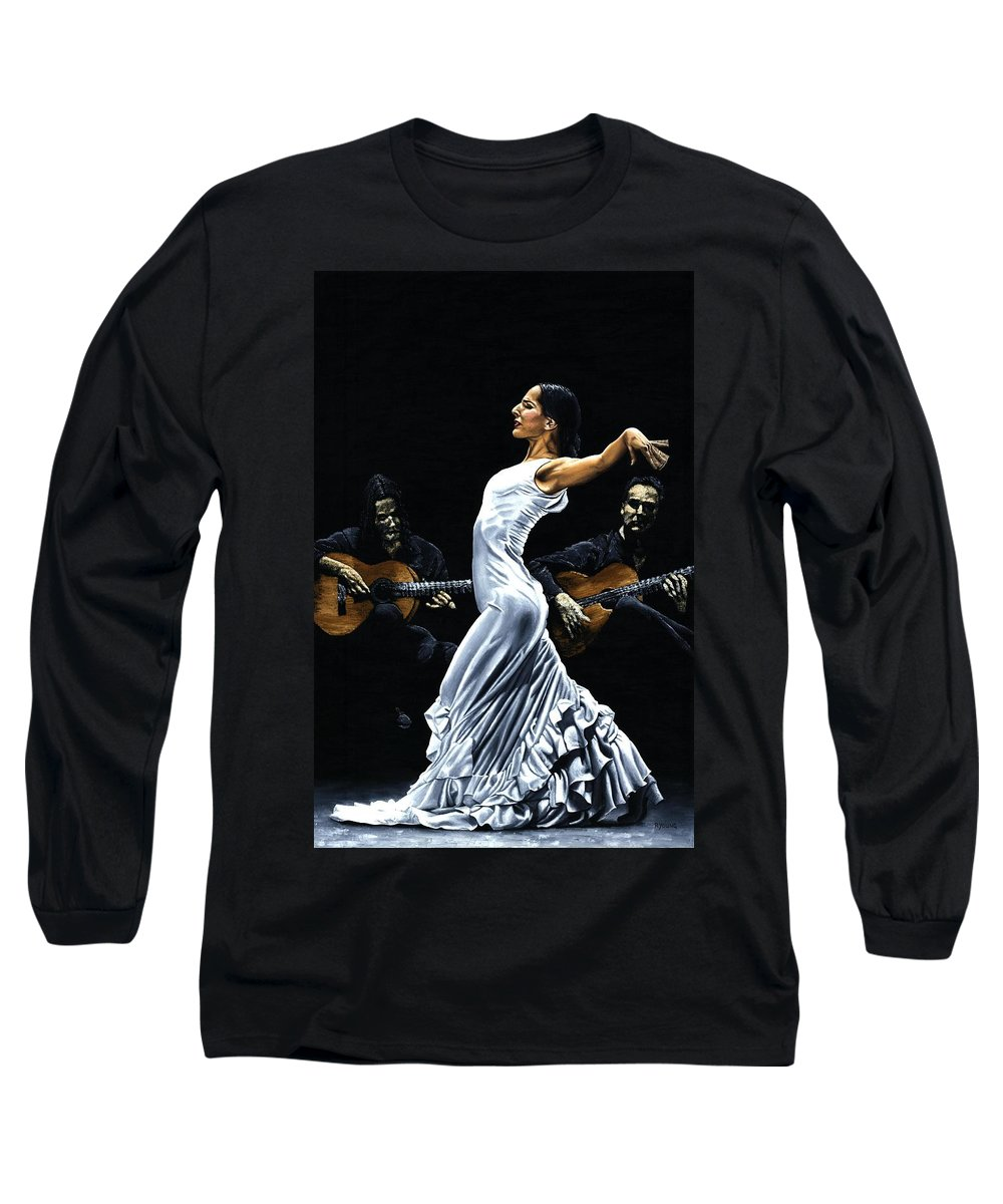 Flamenco Long Sleeve T-Shirt featuring the painting Concentracion Del Funcionamiento Del Flamenco by Richard Young
