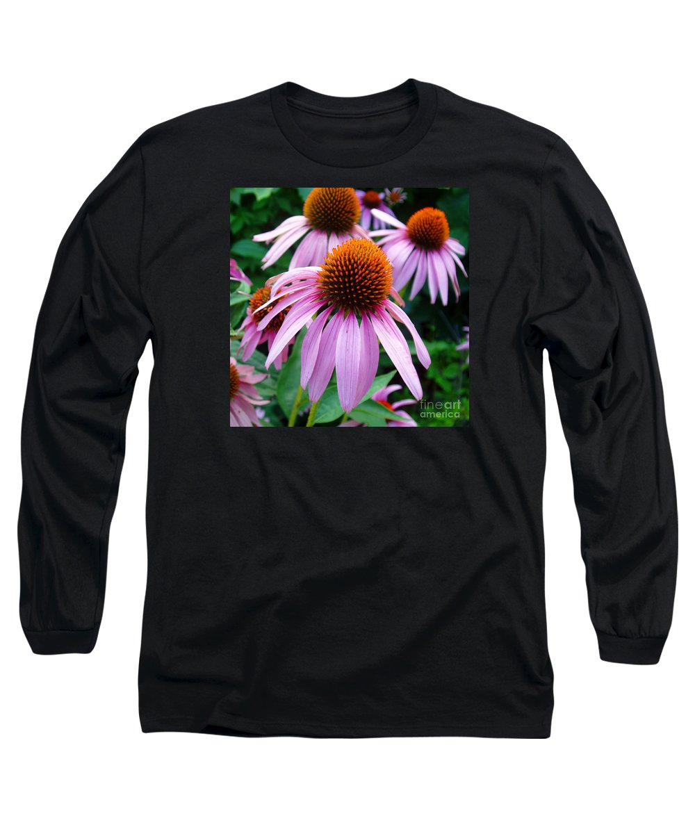 Coneflowers Long Sleeve T-Shirt featuring the photograph Three Coneflowers by Nancy Mueller