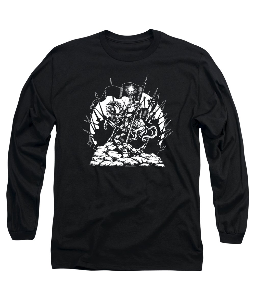 King Long Sleeve T-Shirt featuring the drawing Conqueror by Rebecca Magar
