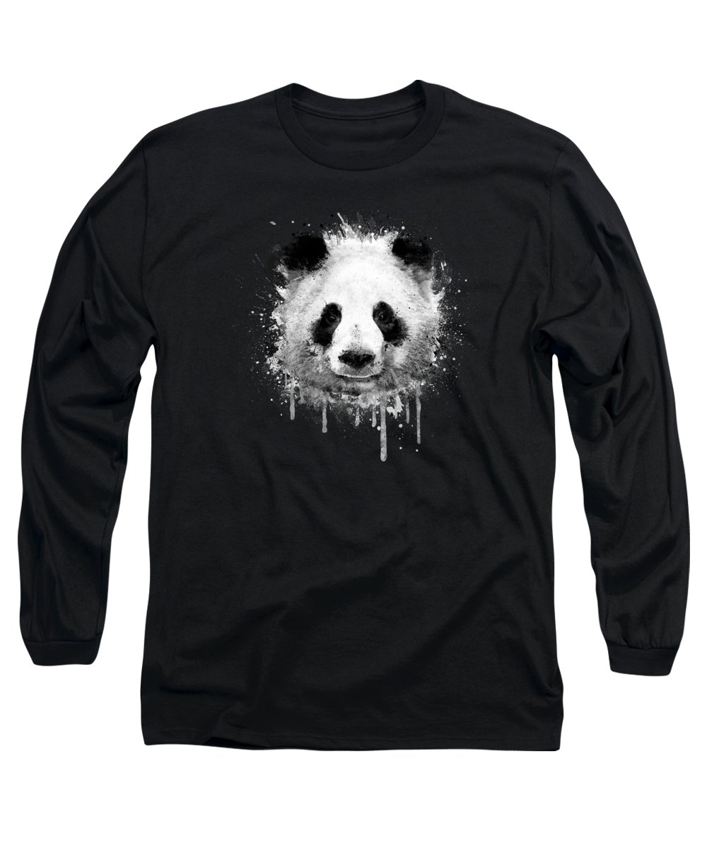 Panda Long Sleeve T-Shirt featuring the digital art Cool Abstract Graffiti Watercolor Panda Portrait in Black and White by Philipp Rietz