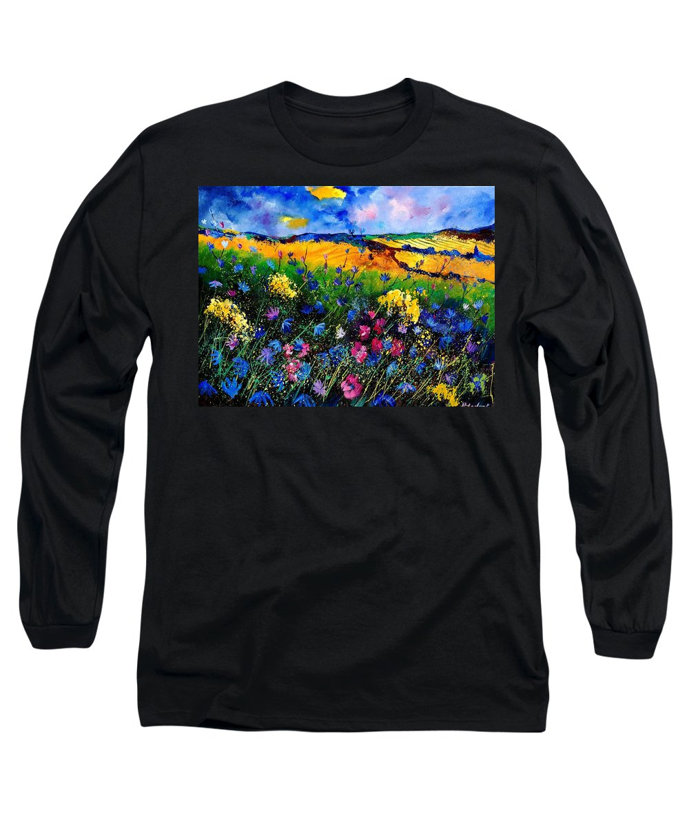 Flowers Long Sleeve T-Shirt featuring the painting Cornflowers 680808 by Pol Ledent