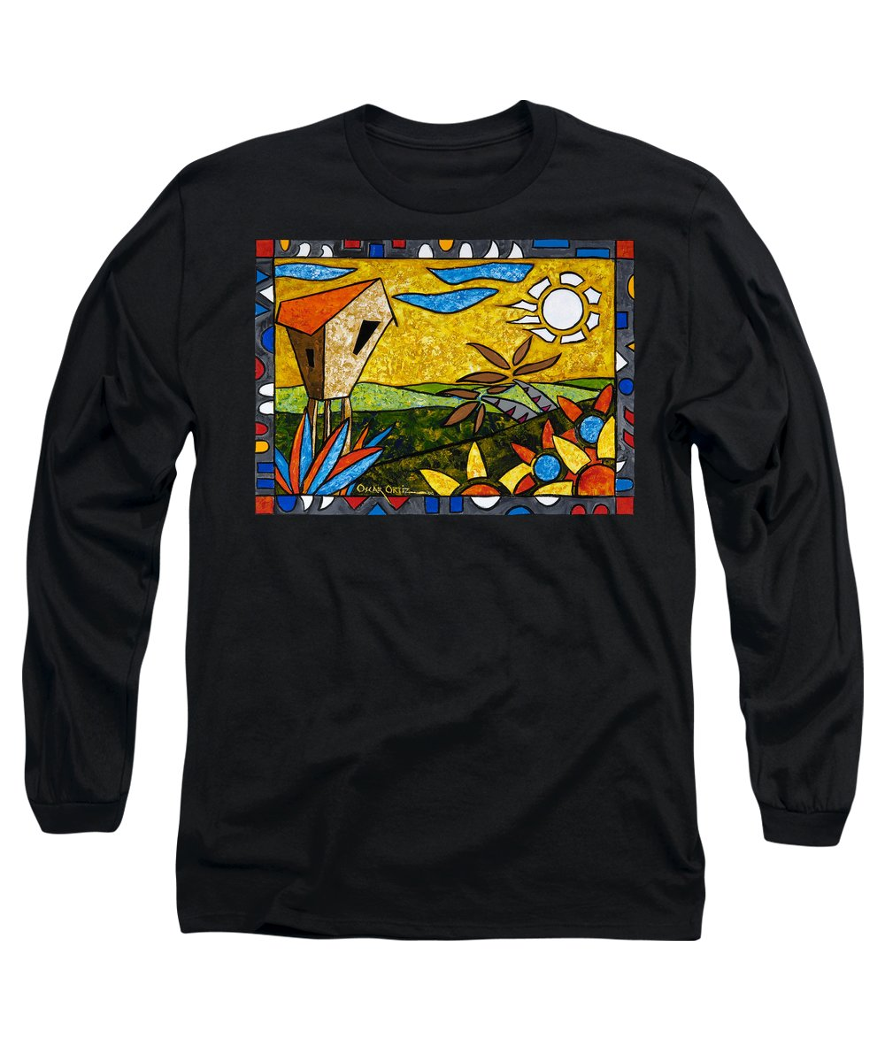 Puerto Rico Long Sleeve T-Shirt featuring the painting Country Peace by Oscar Ortiz