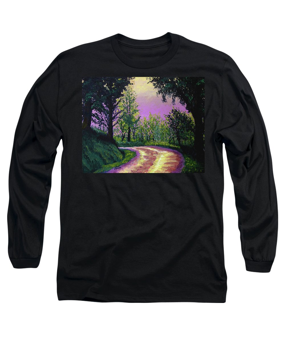 Landscape Long Sleeve T-Shirt featuring the painting Country Road by Stan Hamilton