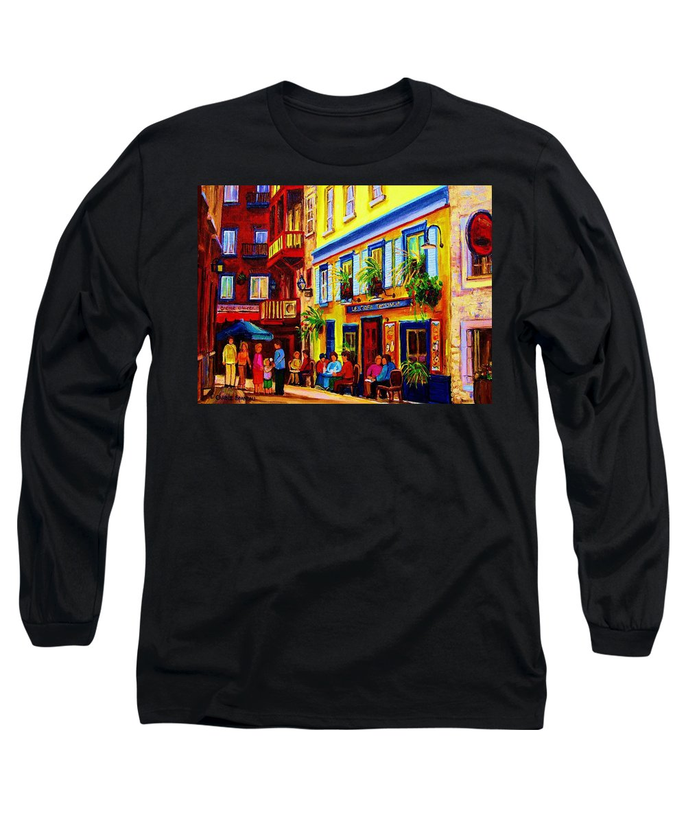 Courtyard Cafes Long Sleeve T-Shirt featuring the painting Courtyard Cafes by Carole Spandau