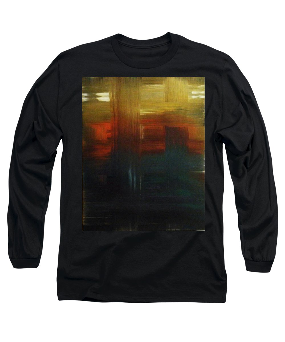 Abstract Long Sleeve T-Shirt featuring the painting Crossroads by Todd Hoover