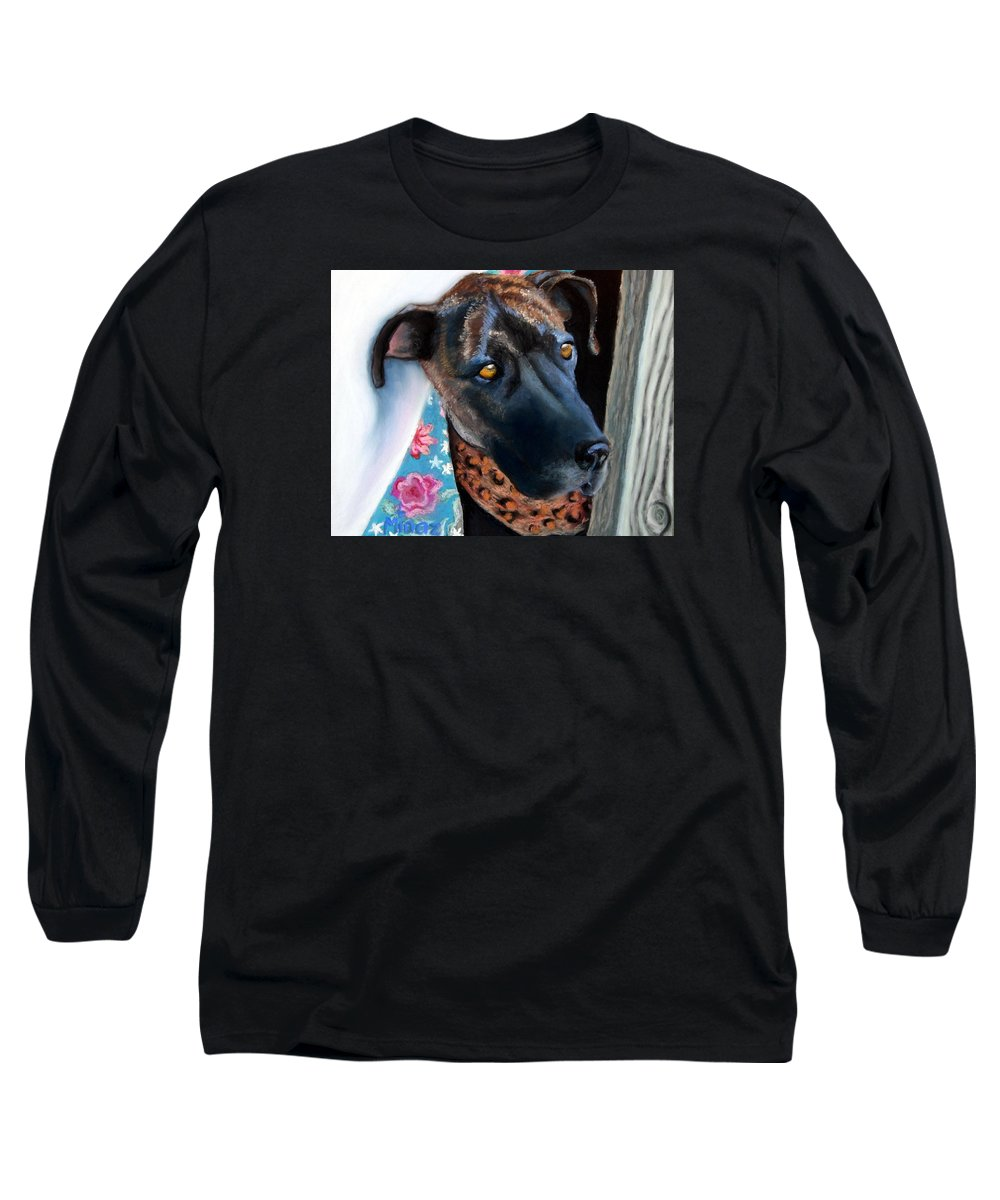 Great Dane Long Sleeve T-Shirt featuring the painting Whats Going On? by Minaz Jantz
