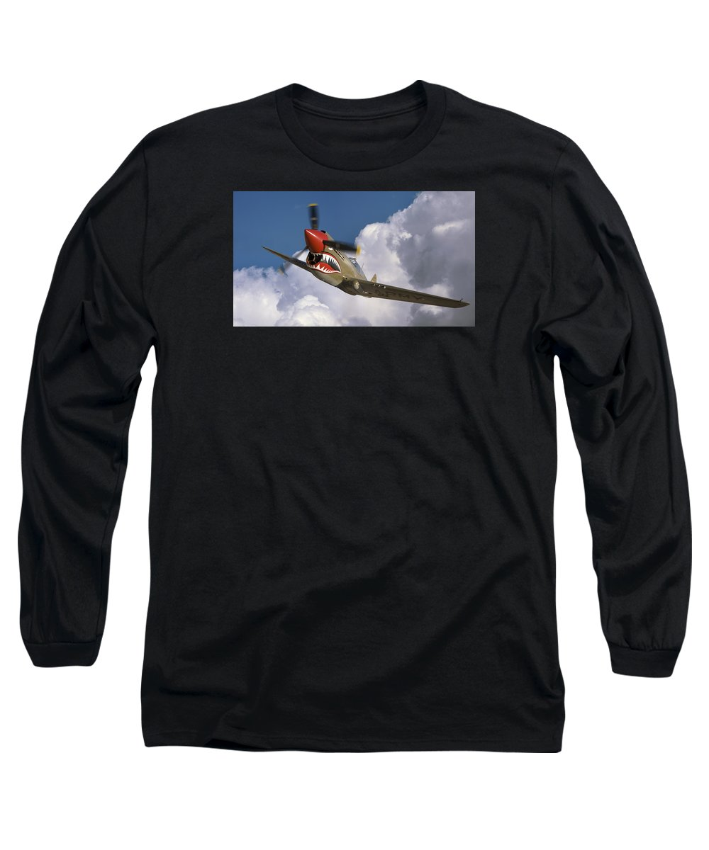 Flying Tigers Long Sleeve T-Shirt featuring the photograph Curtiss P-40n Warhawk by Larry McManus