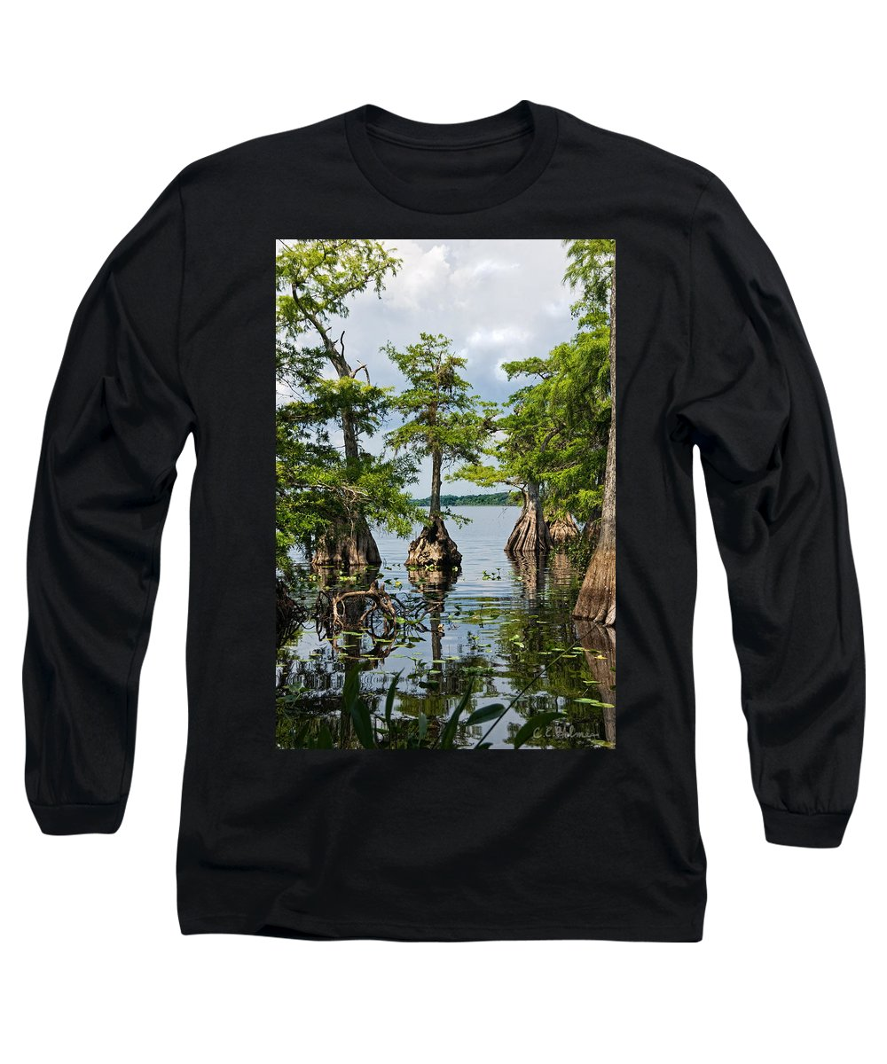 Trees Long Sleeve T-Shirt featuring the photograph Cypress Reflections by Christopher Holmes