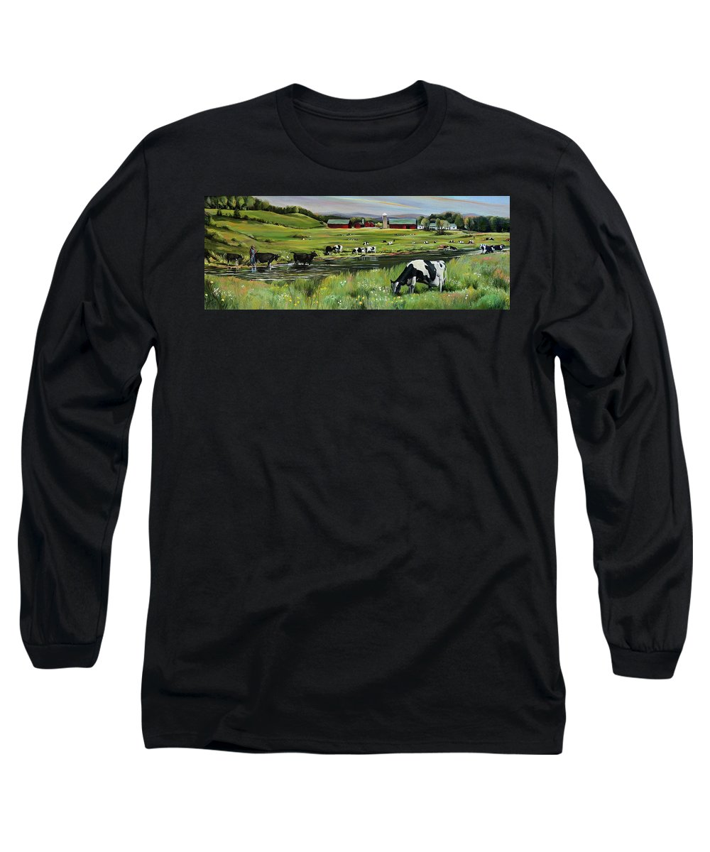 Landscape Long Sleeve T-Shirt featuring the painting Dairy Farm Dream by Nancy Griswold