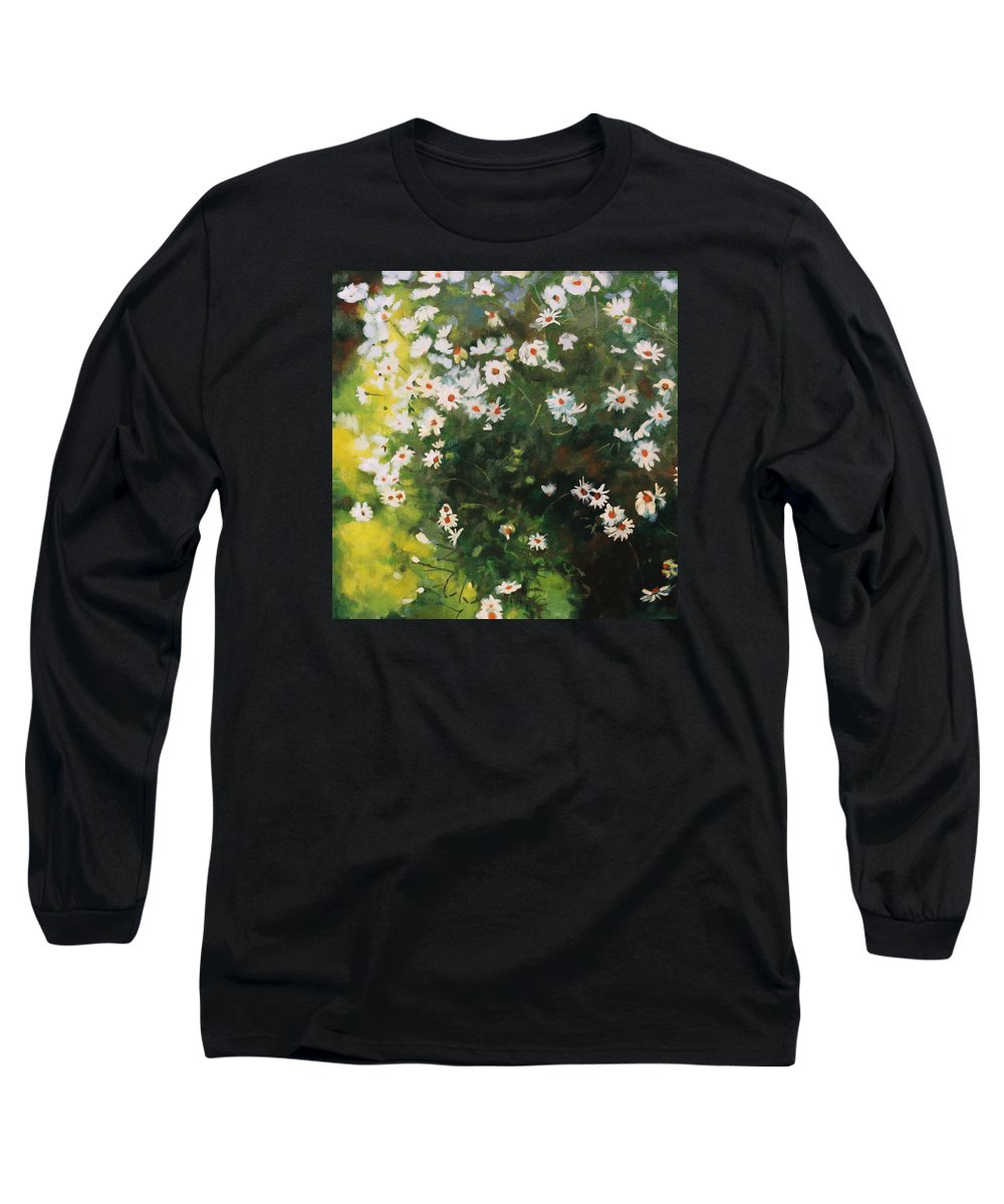 Daisies Long Sleeve T-Shirt featuring the painting Daisies by Iliyan Bozhanov