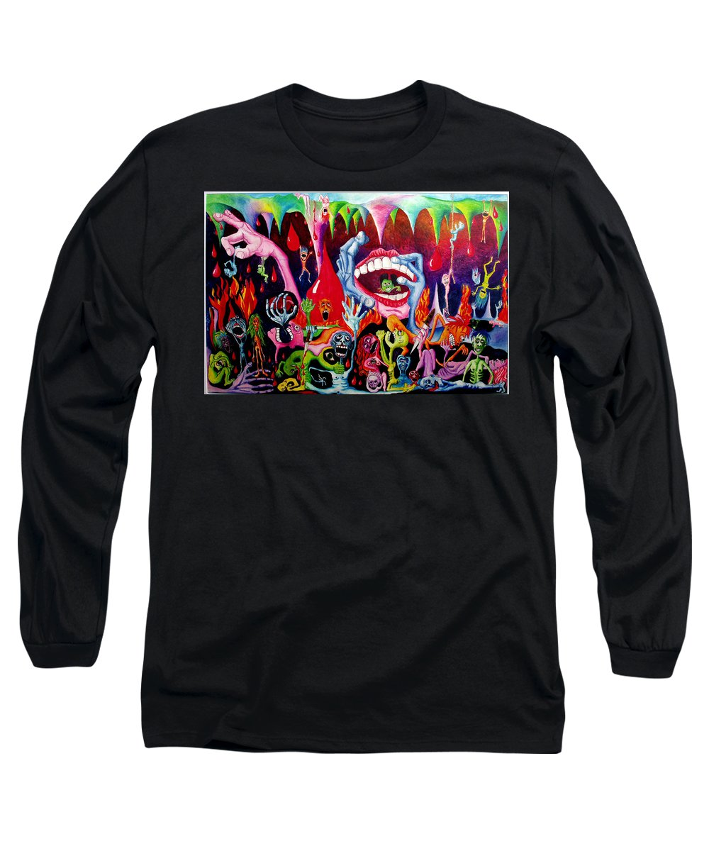 Hell Long Sleeve T-Shirt featuring the painting Damnation Of The Evil by Nancy Mueller