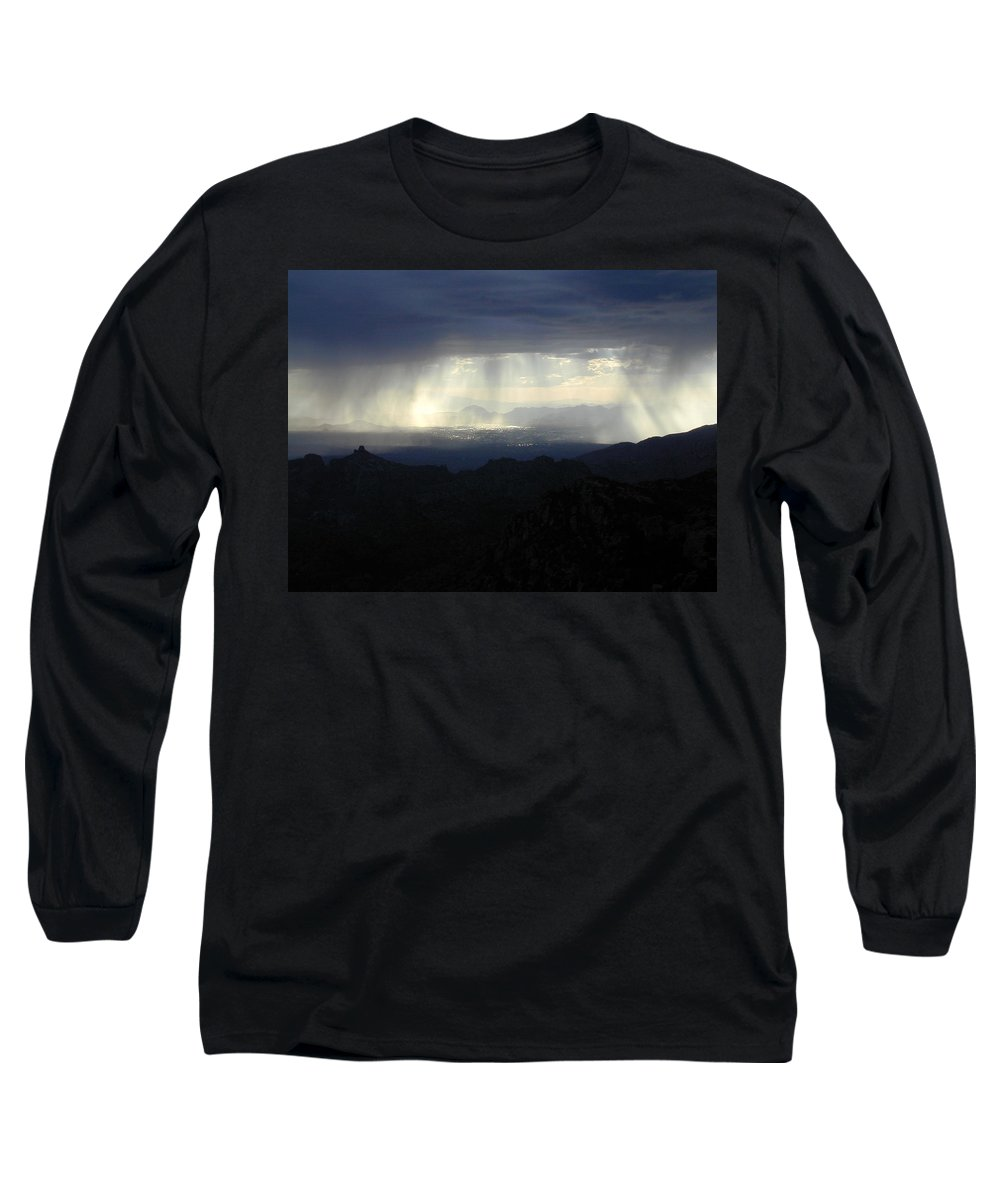 Darkness Long Sleeve T-Shirt featuring the photograph Darkness Over The City by Douglas Barnett