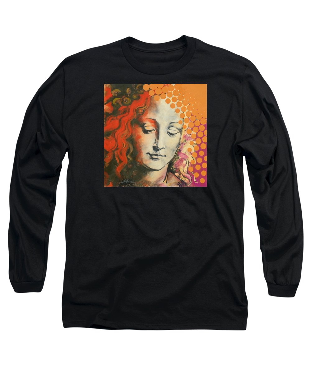 Figurative Long Sleeve T-Shirt featuring the painting Davinci's Head by Jean Pierre Rousselet