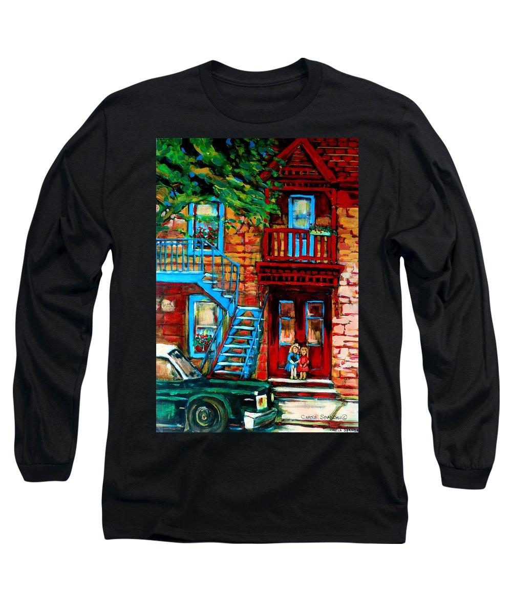 Montreal Streetscenes Long Sleeve T-Shirt featuring the painting Debullion Street Neighbors by Carole Spandau
