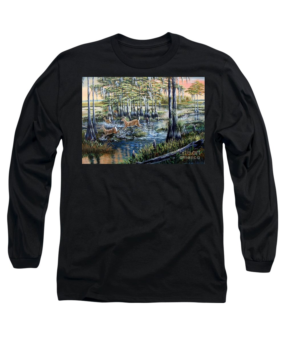 Florida Backwoods Long Sleeve T-Shirt featuring the painting Deer And Dogs- A Southern Tradition by Daniel Butler