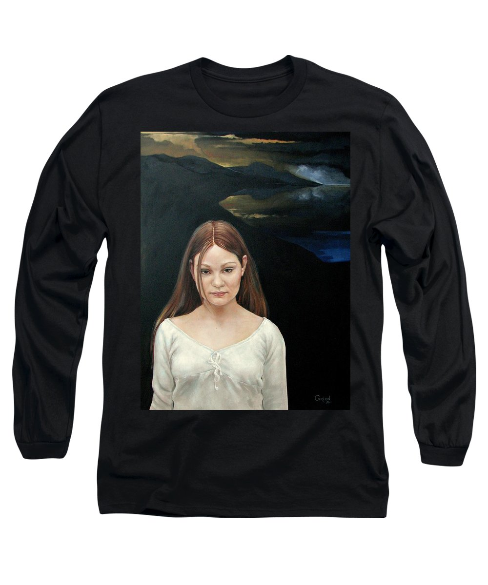 Facial Expressioin Long Sleeve T-Shirt featuring the painting Defiant Girl 2004 by Jerrold Carton