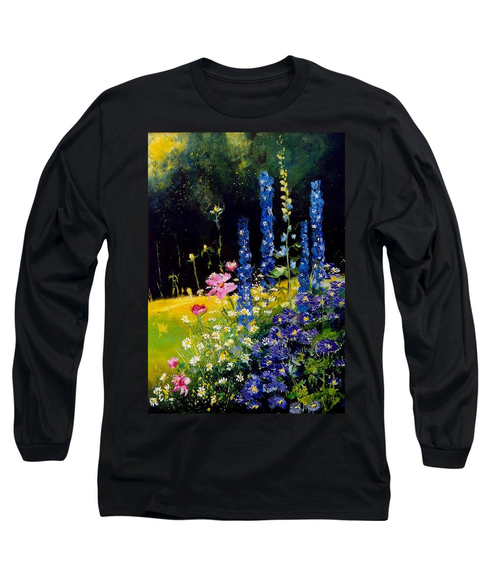 Poppies Long Sleeve T-Shirt featuring the painting Delphiniums by Pol Ledent