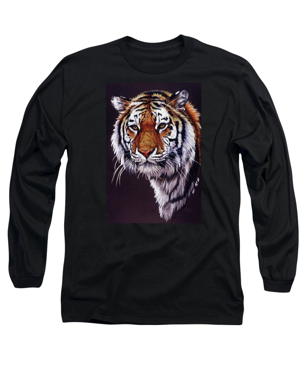 Tiger Long Sleeve T-Shirt featuring the drawing Desperado by Barbara Keith