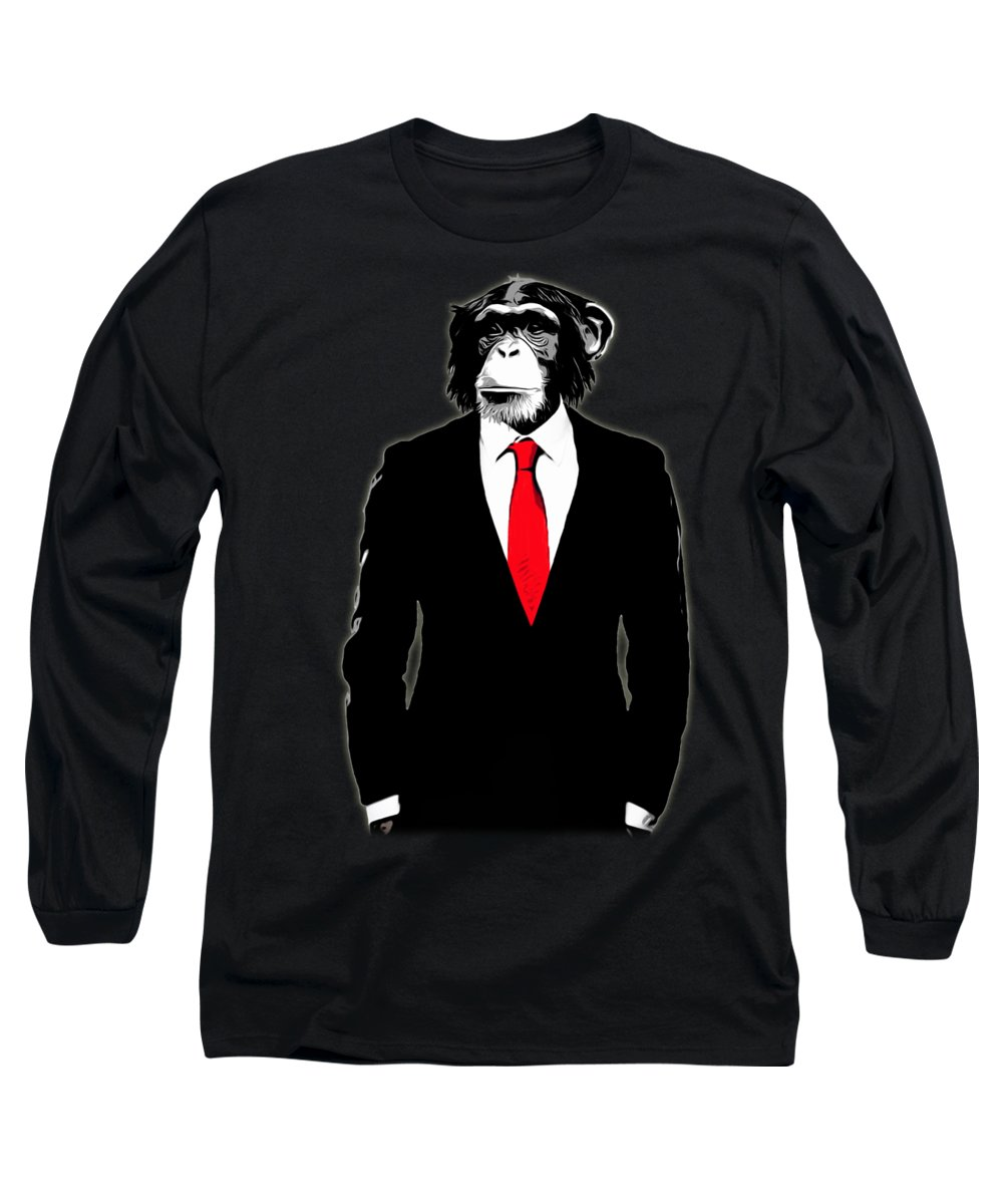 Monkey Long Sleeve T-Shirt featuring the painting Domesticated Monkey by Nicklas Gustafsson