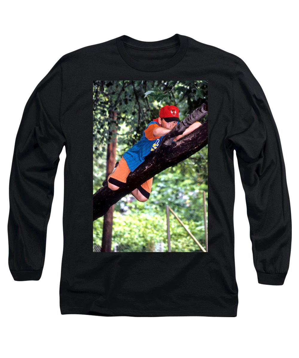 Boy Climbing Tree Long Sleeve T-Shirt featuring the photograph Don't Forget To Dream by Laurie Paci