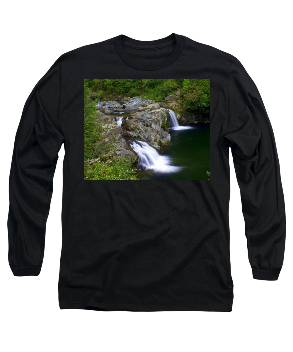 Waterfalls Long Sleeve T-Shirt featuring the photograph Double Falls by Marty Koch