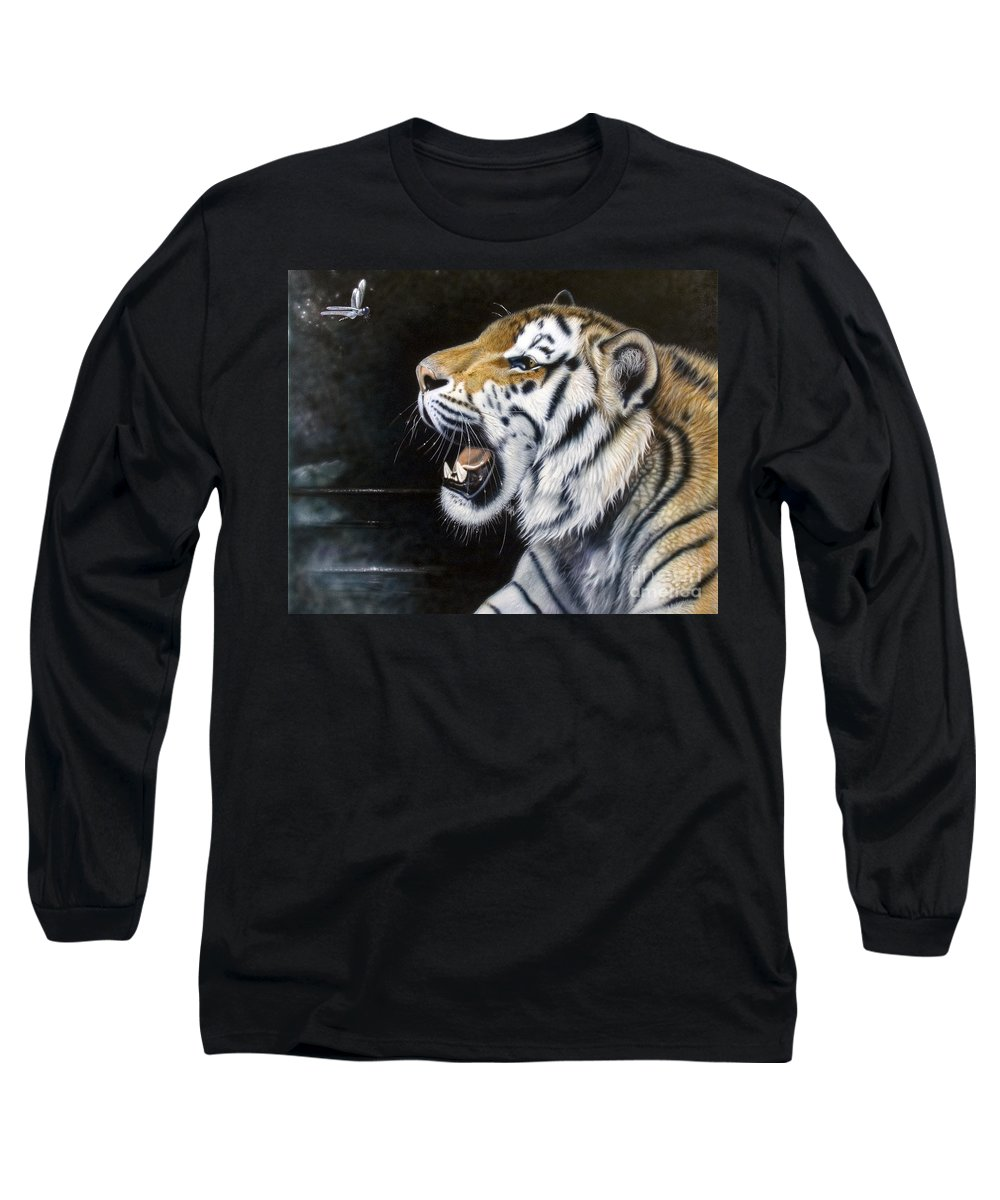 Tiger Long Sleeve T-Shirt featuring the painting Dragonfly by Sandi Baker