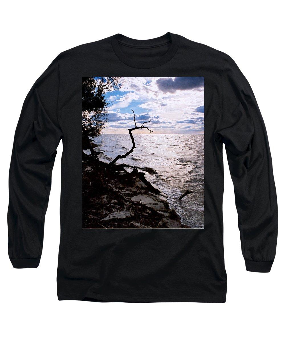 Barnegat Long Sleeve T-Shirt featuring the photograph Driftwood Dragon-barnegat Bay by Steve Karol