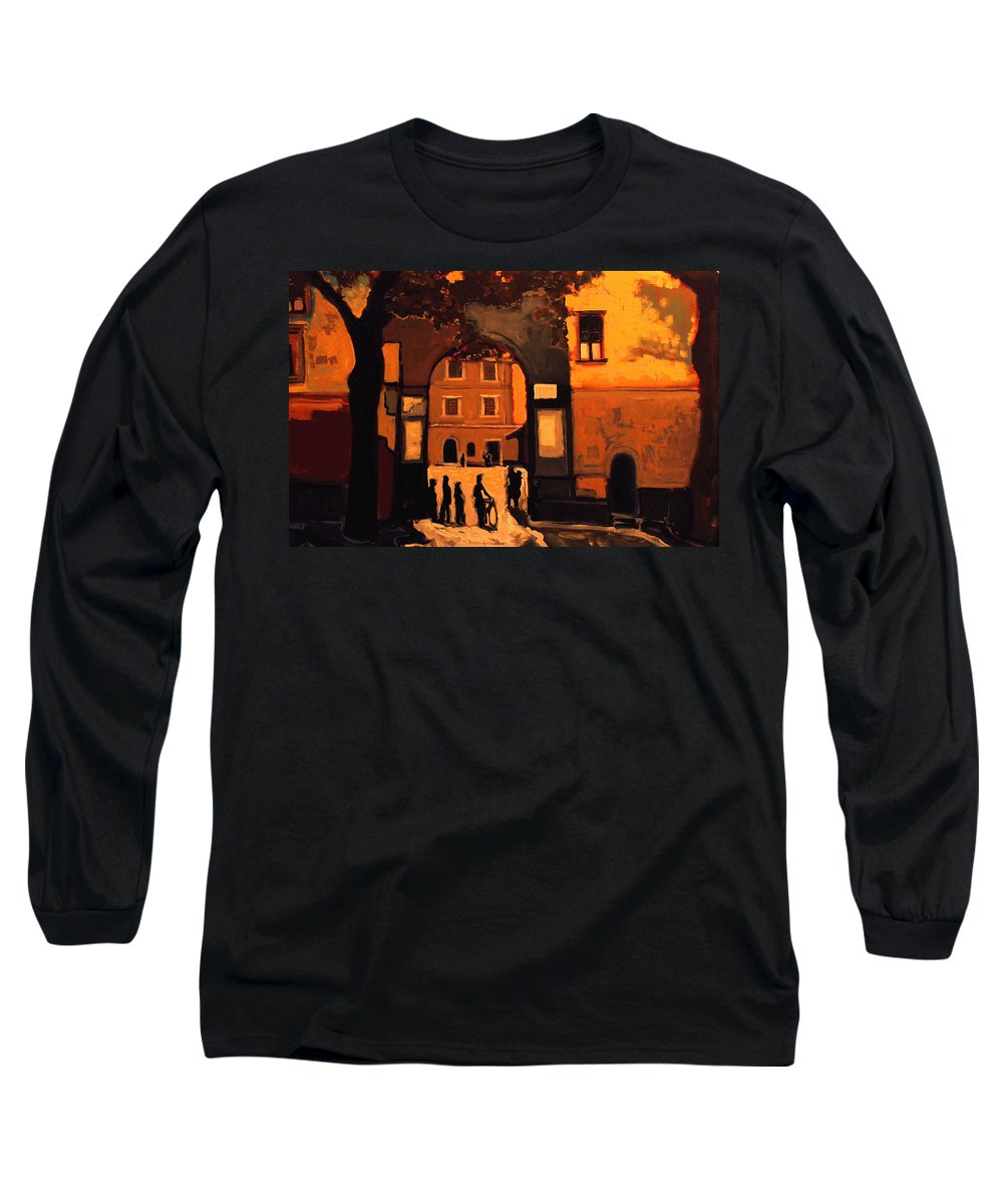 Cityscape Long Sleeve T-Shirt featuring the painting Dusk by Kurt Hausmann