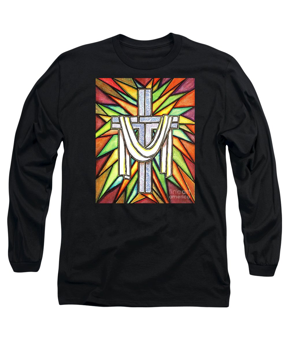 Cross Long Sleeve T-Shirt featuring the painting Easter Cross 5 by Jim Harris