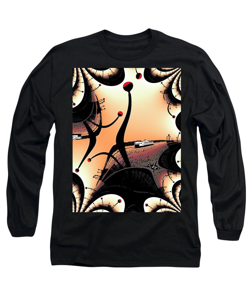 Seattle Long Sleeve T-Shirt featuring the digital art Elliott Bay Ferry Fractal by Tim Allen