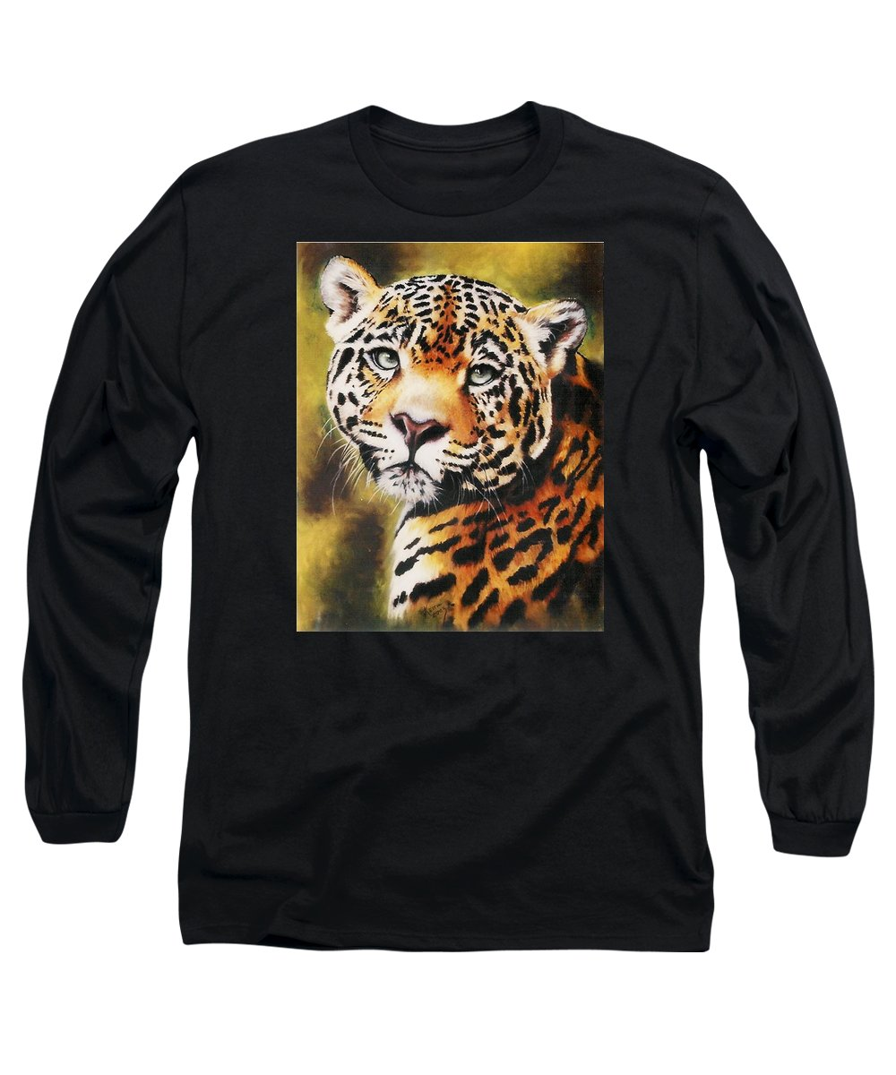 Jaguar Long Sleeve T-Shirt featuring the pastel Enchantress by Barbara Keith