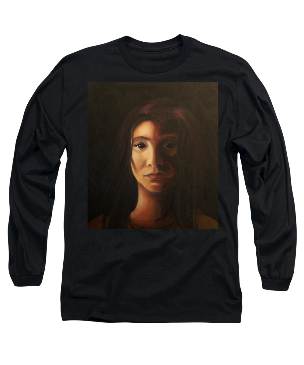 Woman In The Dark Long Sleeve T-Shirt featuring the painting Endure by Toni Berry