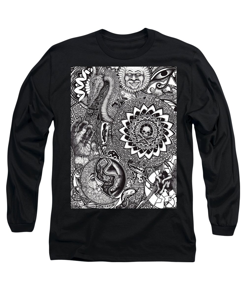 Black And White Long Sleeve T-Shirt featuring the drawing Epiphany by Tobey Anderson
