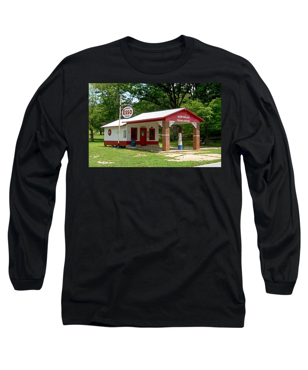 Esso Filling Station Long Sleeve T-Shirt featuring the photograph Esso Station by Greg Joens