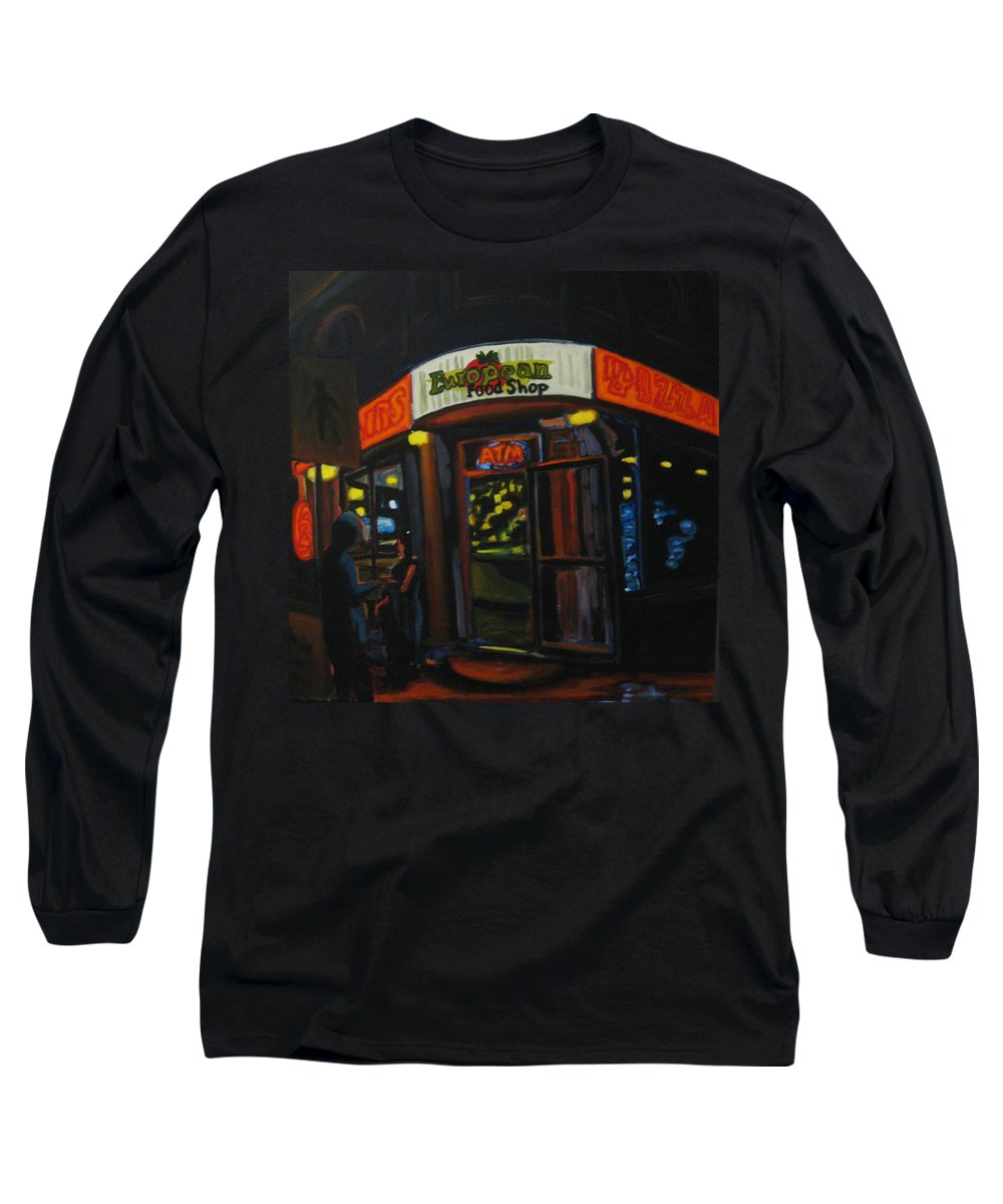 City Long Sleeve T-Shirt featuring the painting European Food Shop by John Malone