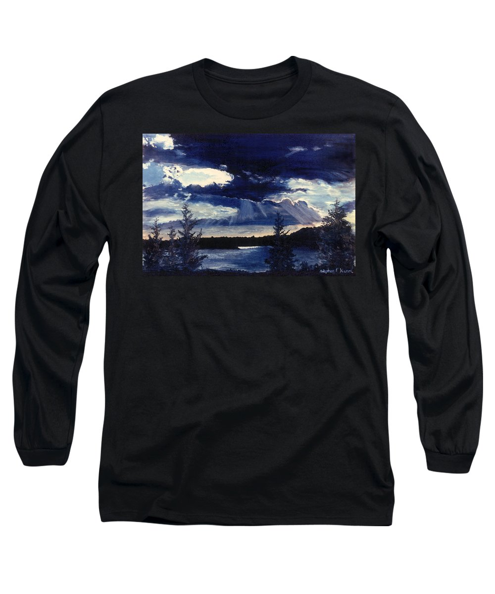 Landscape Long Sleeve T-Shirt featuring the painting Evening Lake by Steve Karol