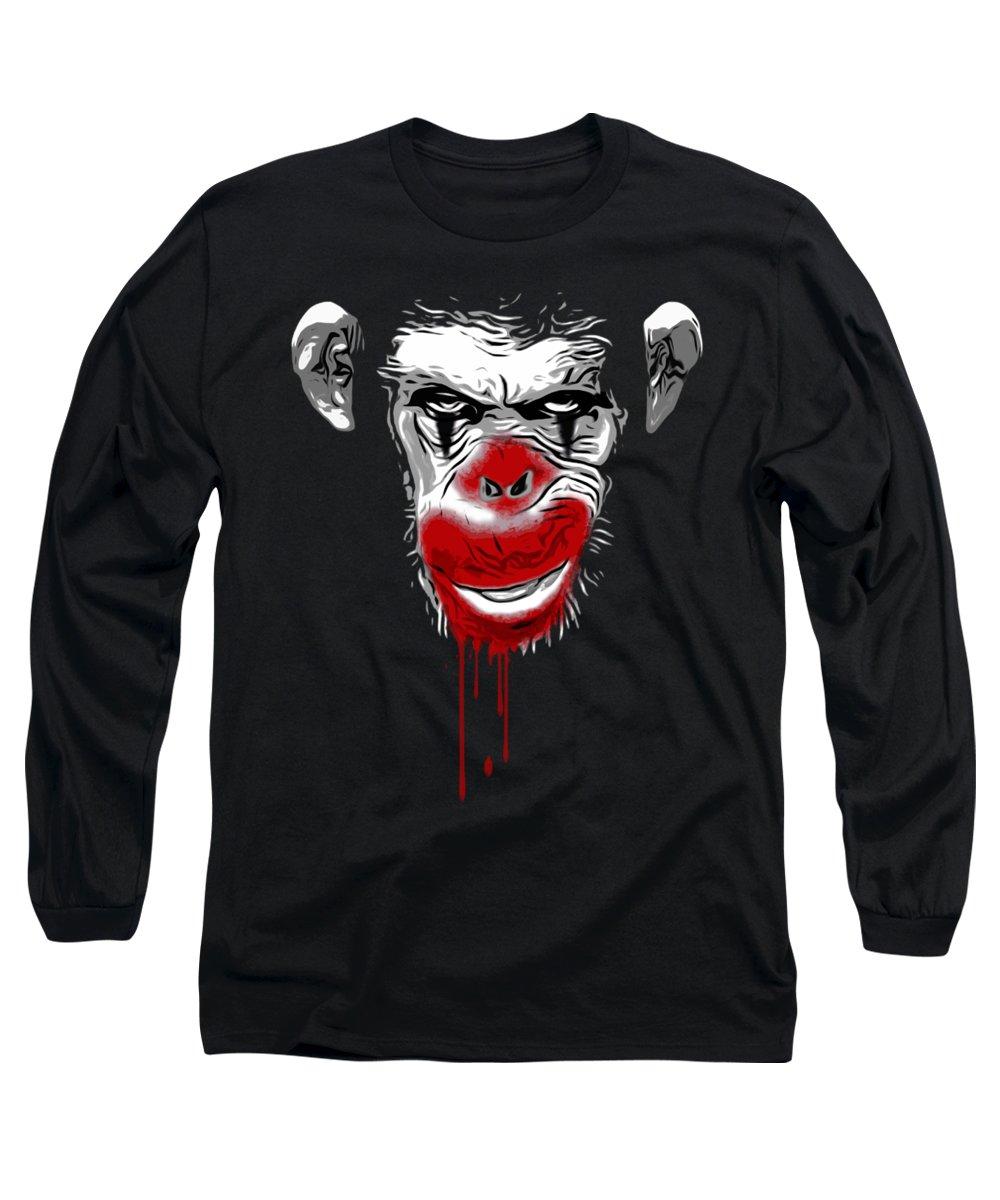 Monkey Long Sleeve T-Shirt featuring the digital art Evil Monkey Clown by Nicklas Gustafsson