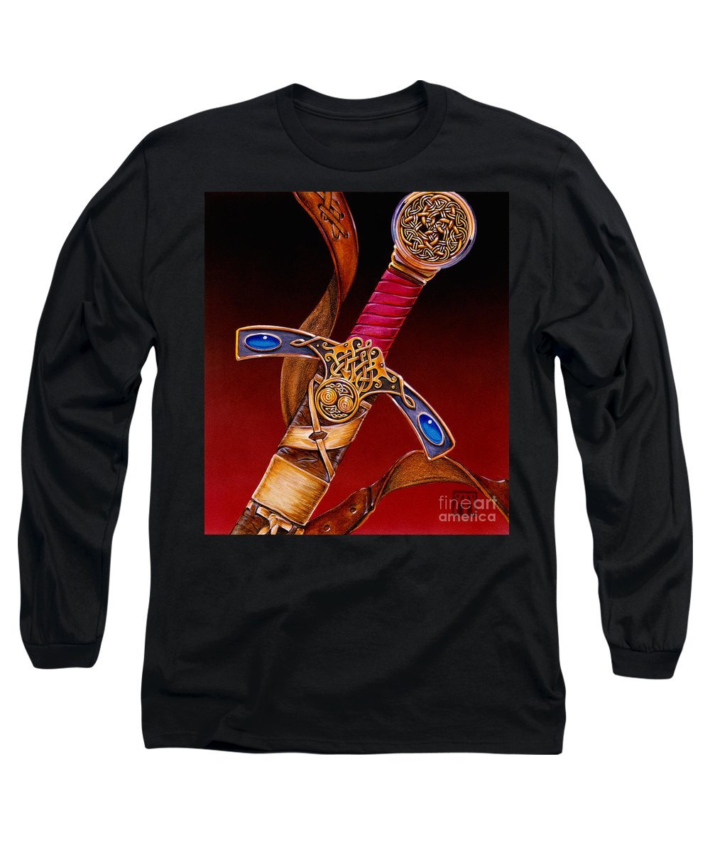 Swords Long Sleeve T-Shirt featuring the mixed media Excalibur by Melissa A Benson