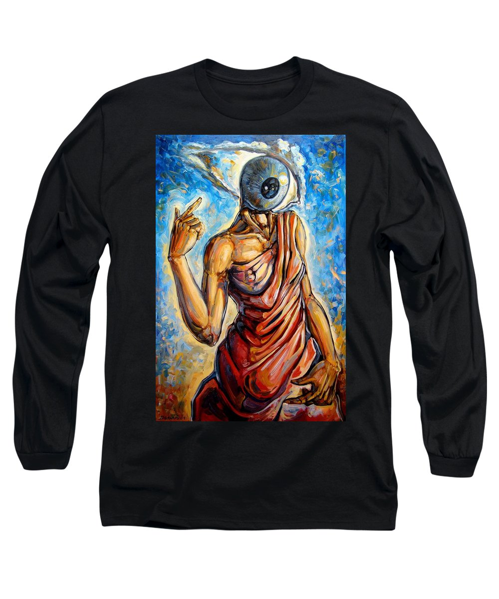 Surrealism Long Sleeve T-Shirt featuring the painting Eye Always Was - Symbolic Representation Of Universal Energy by Darwin Leon