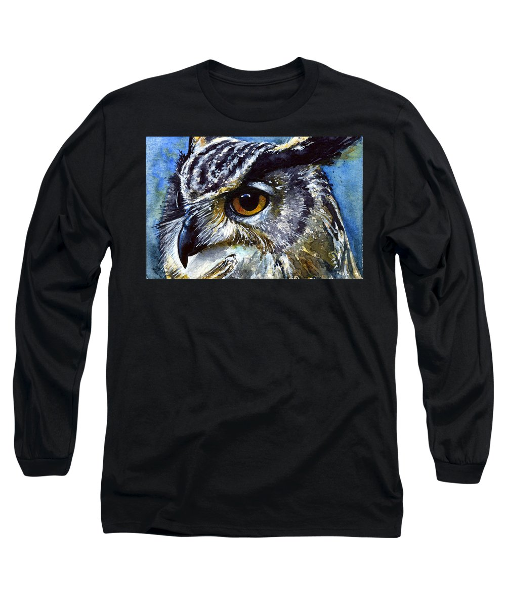 Owls Long Sleeve T-Shirt featuring the painting Eyes Of Owls No.25 by John D Benson
