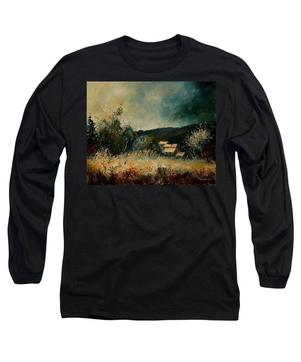 Village Long Sleeve T-Shirt featuring the painting Fall 4590 by Pol Ledent