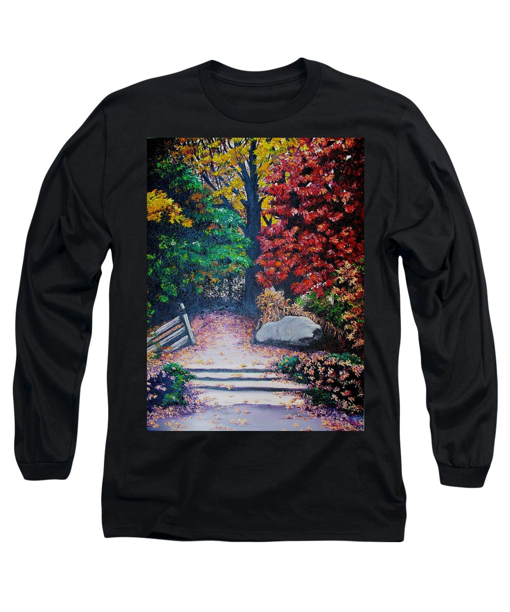 A N Original Painting Of An Autumn Scene In The Gateneau In Quebec Long Sleeve T-Shirt featuring the painting Fall In Quebec Canada by Karin Dawn Kelshall- Best