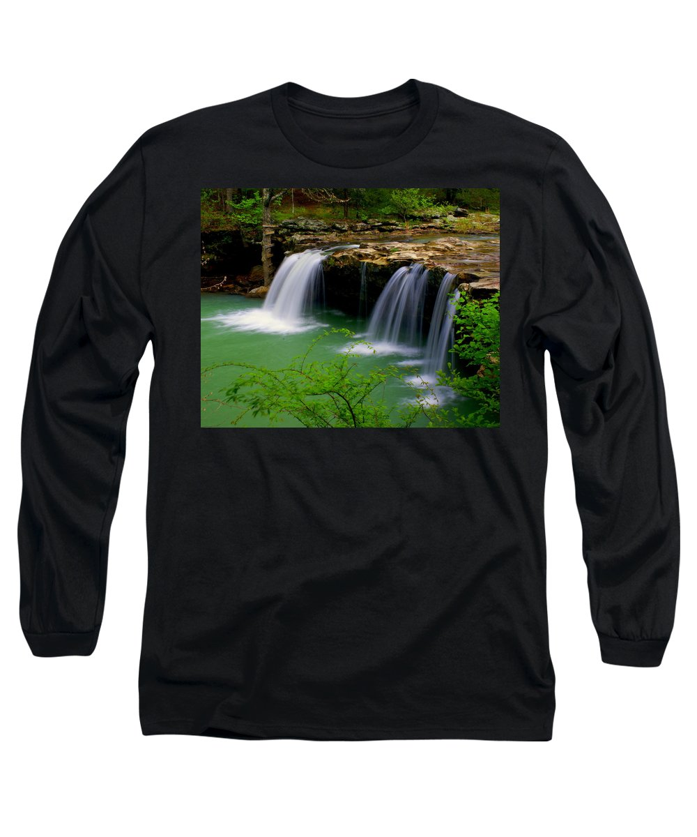 Waterfalls Long Sleeve T-Shirt featuring the photograph Falling Water Falls by Marty Koch