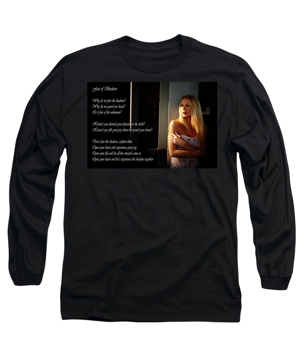 Clay Long Sleeve T-Shirt featuring the photograph Fear Of Shadows by Clayton Bruster