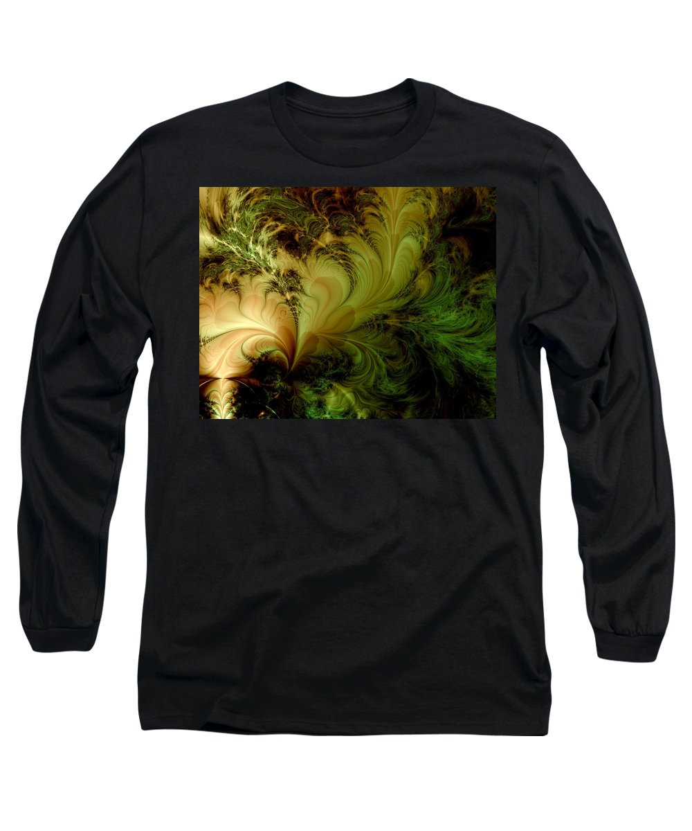 Feather Long Sleeve T-Shirt featuring the digital art Feathery Fantasy by Casey Kotas
