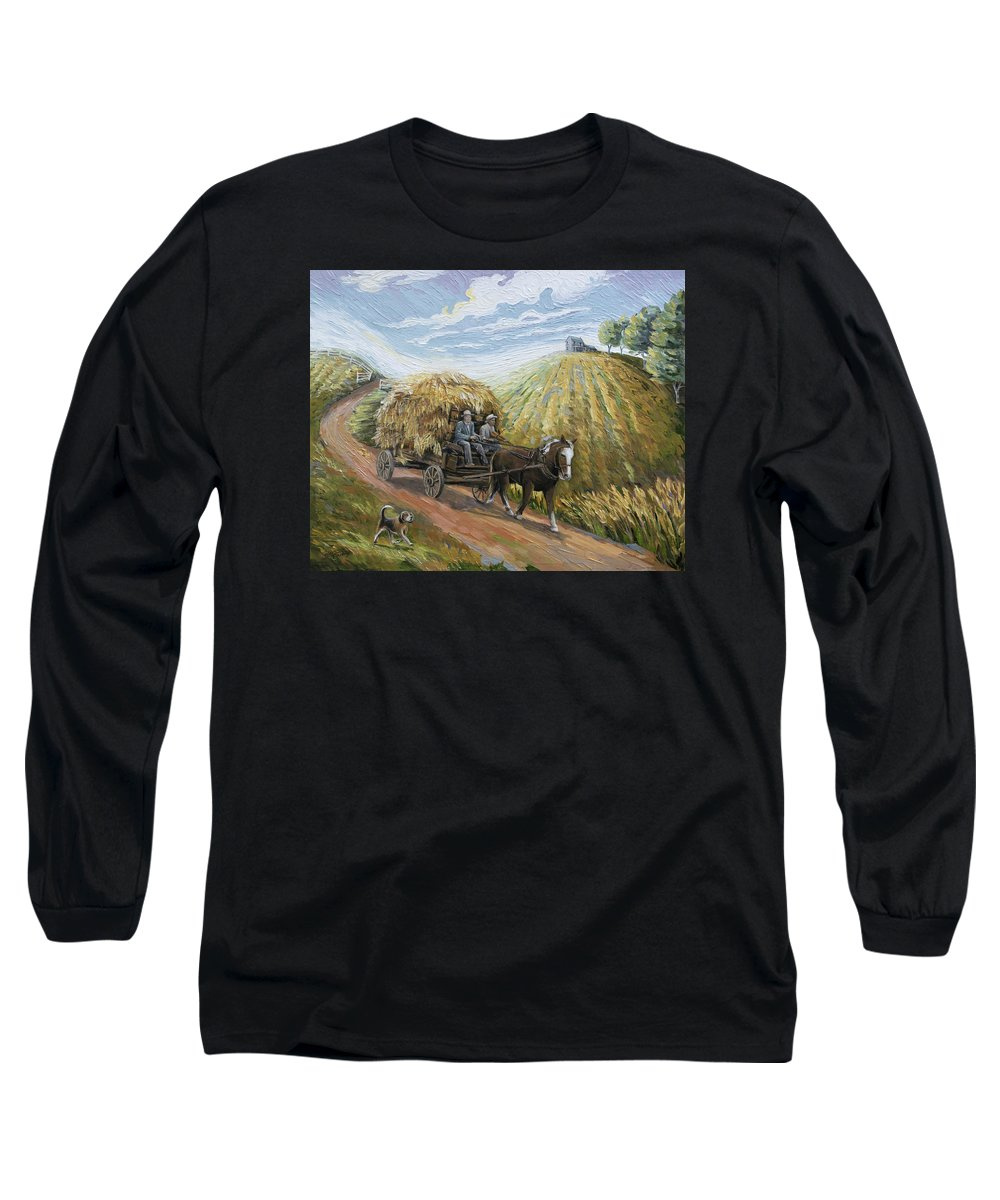 Wagon Long Sleeve T-Shirt featuring the painting Feed My Horse On Corn And Hay by Paula McHugh