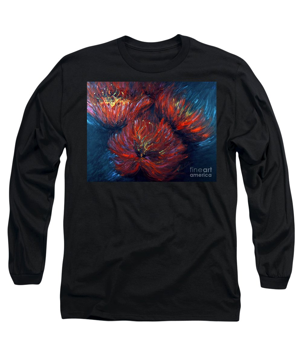 Abstract Long Sleeve T-Shirt featuring the painting Fellowship by Nadine Rippelmeyer